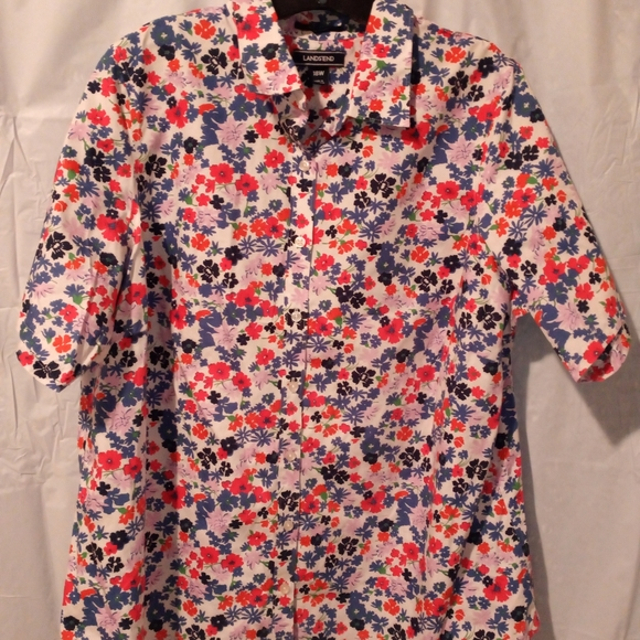Lands' End, floral short sleeve women's 18W